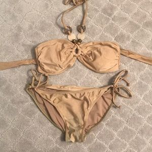 Gold beaded bandeau bikini
